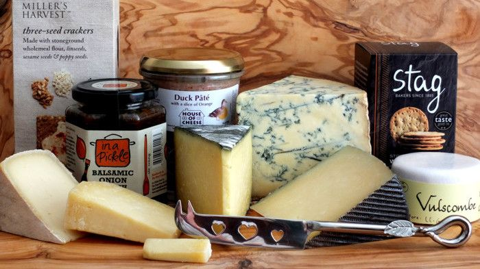 Not just cheeses but pickles, biscuits, pates, knives, boards ...